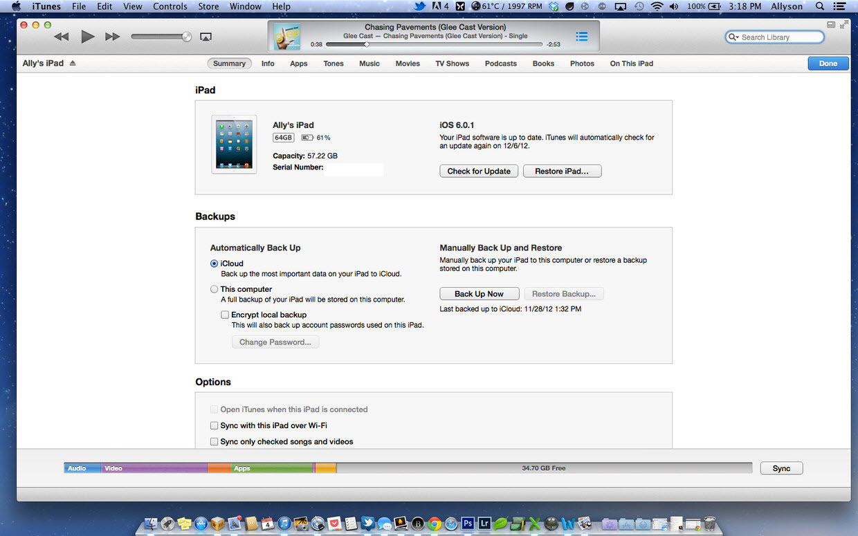 itunes 2 Transfer media files from Mac to iPad Air