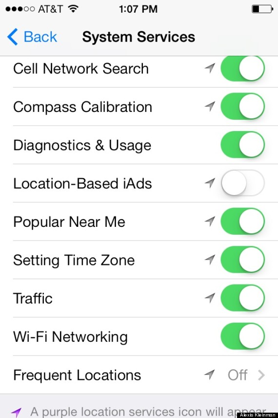 location settings Tips to Improve IOS 7s iPhone Battery Life