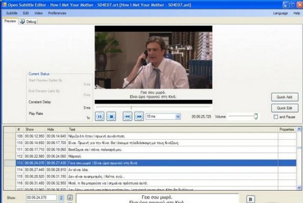 opensubtitleeditor Best free Tools To Edit & Adjust & Add Subtitle Files in 2016