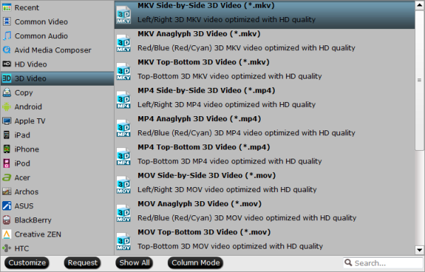 3d mkv format Make 2D content (Blu ray/DVD/Video) playable on your 3D devie with 3D effect