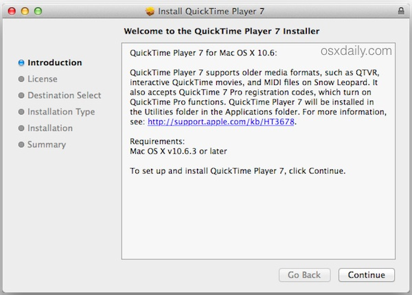 install quicktime player 7 new os x Run QuickTime Player 7 in OS X Yosemite