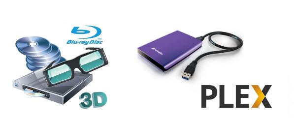 convert 3d blu ray to sbs mkv into hard drive and playback via plex